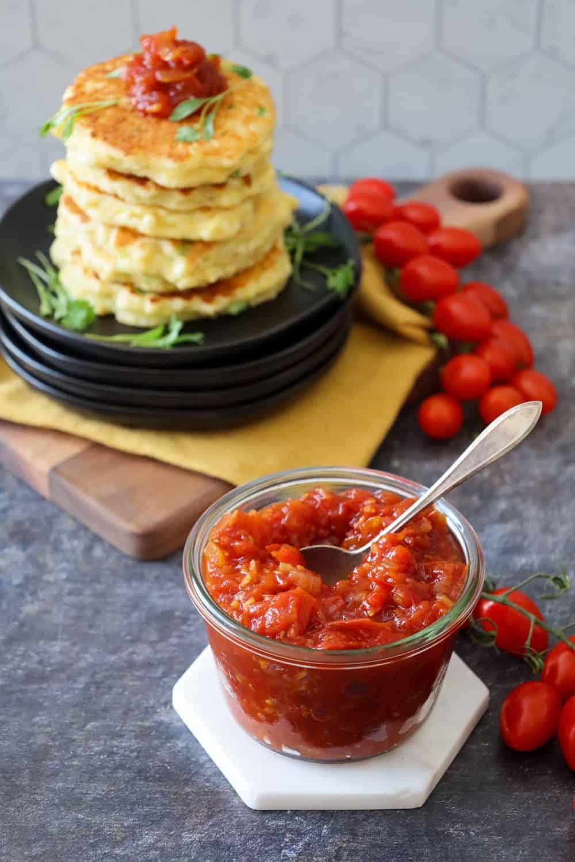 Fresh Tomato Jam for Sweet Corn Fritters