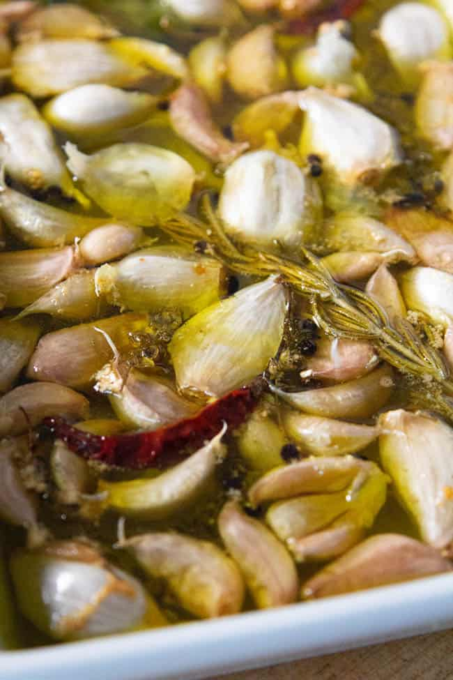 Garlic confit straight from the oven.