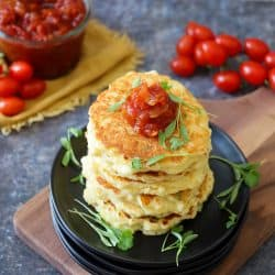 Sweet Corn Fritters topped with Tomato Jam