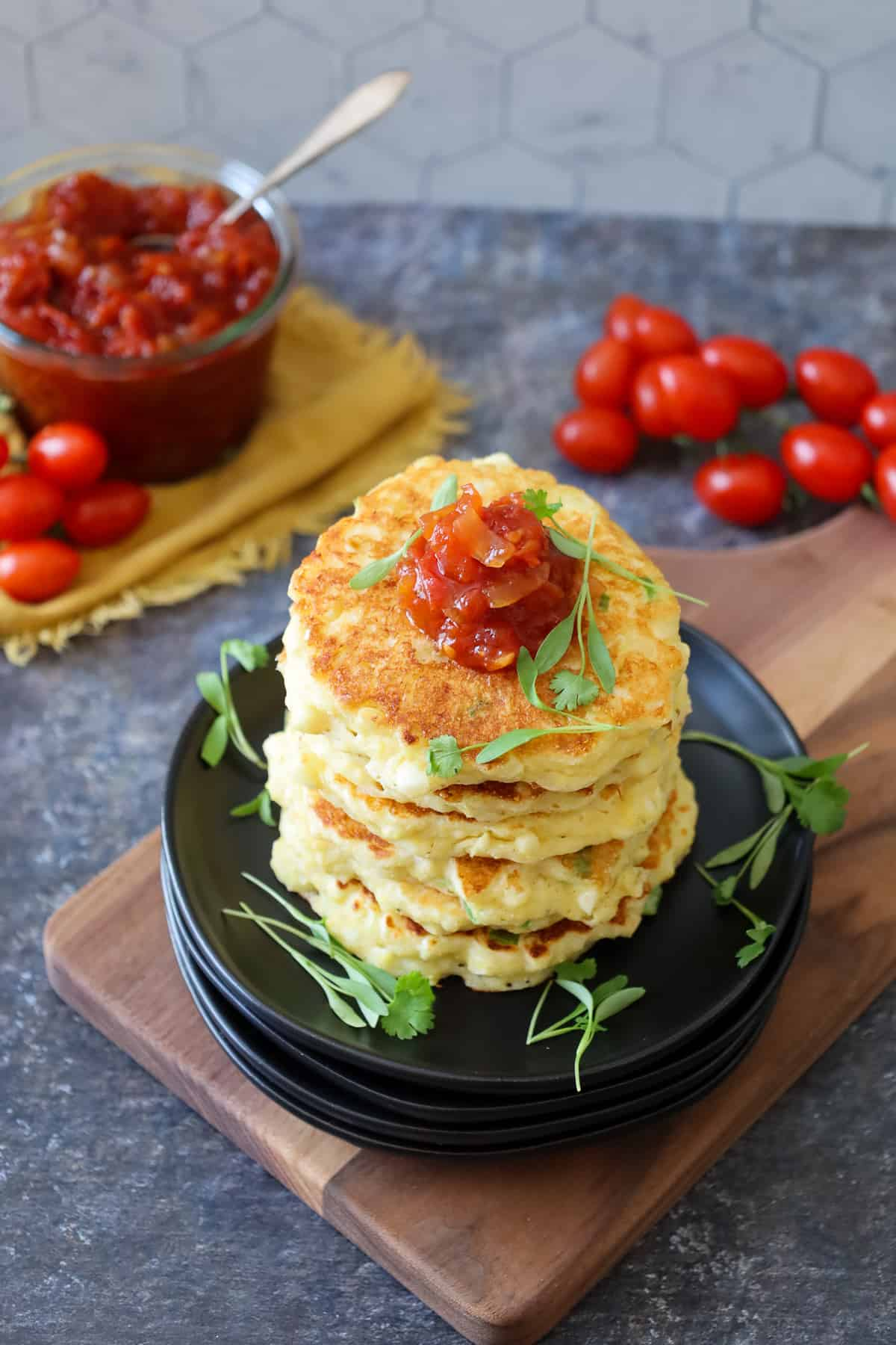 Sweet Corn Fritters with Tomato Jam: Alison from A Girl Defloured