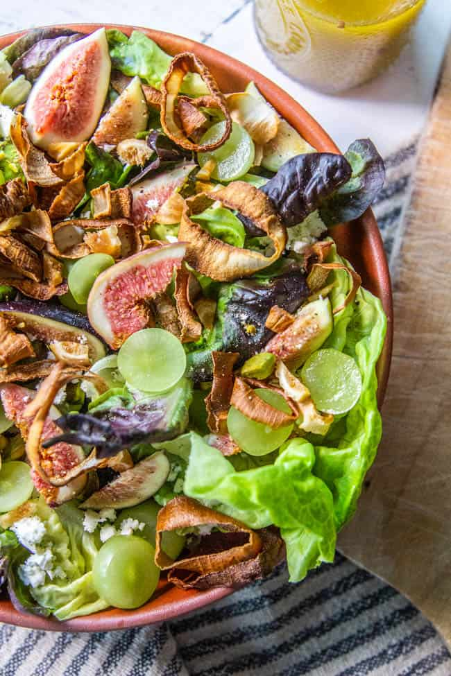 A close up of Fresh Fig & Grape Salad with Crispy Shallots