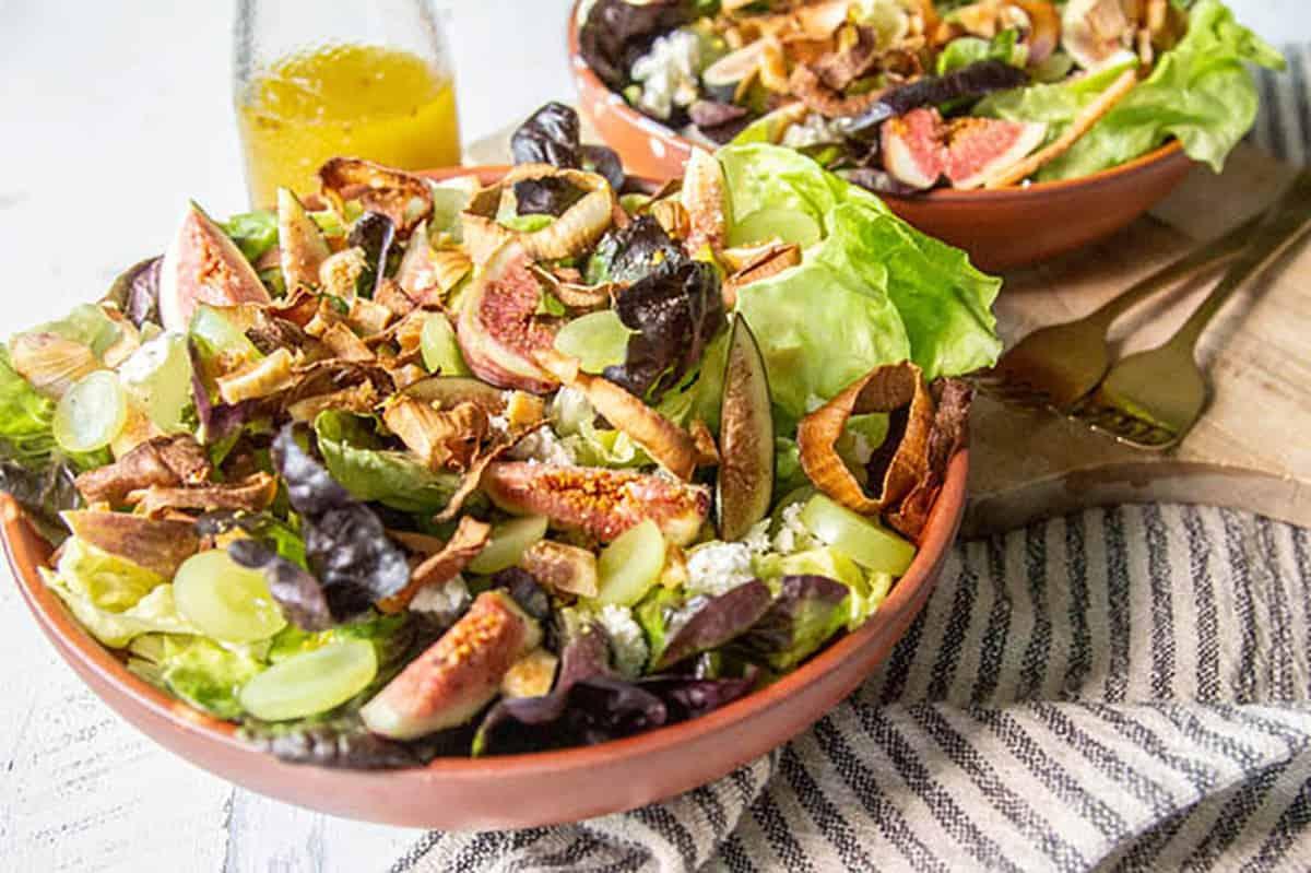 Fresh Fig & Grape Salad with Crispy Shallots