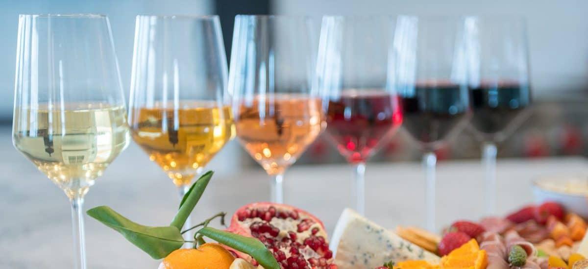 rainbow of wine in glasses